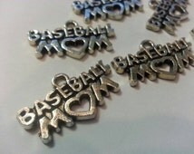 BASEBALL MOM Charms,Tibetan Silver Charms,Jewelry Supply,Jewelry Making,Charms,Bracelet Charms,Bookmark Charms,Craft Supply,BASEBALL Jewelry