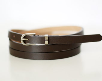 Free shipping! Leather belt, dark brown belt, woman belt, brown belt, skinny belt, waist belt, narrow belt, woman leather belt