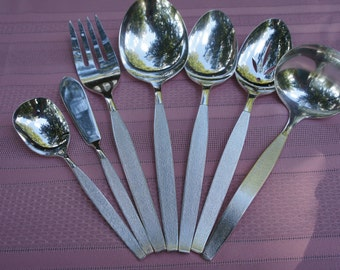 1960s Polished Oneida Community Silver Sands silverplate silverware flatware 7 piece serving set gravy casserole serving sugar meat butter