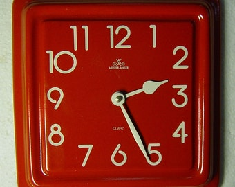 vintage 60s/70s red Pop Art pottery wall clock Meisteranker