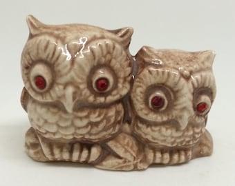 Vintage Owl Figure Figurine Home Decor Ceramic Pair