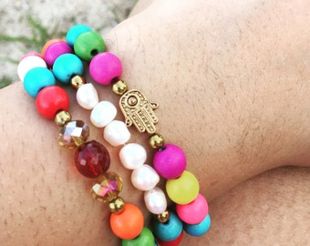 Colorful Howlite Beads with Gold Hamsa Hand and Fresh Water Pearls