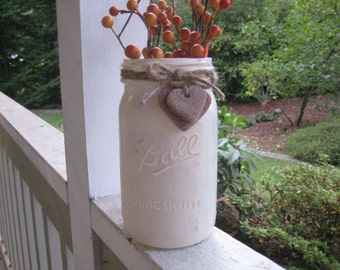 Painted and Distressed Mason Jar