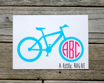 Mountain Bike Monogram Vinyl Decal | Personalized Monogram | Car Decal | Vinyl Initials