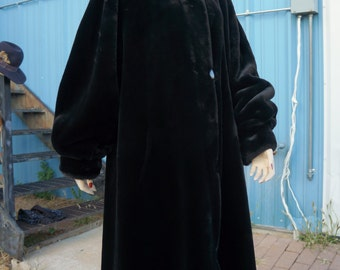 SALE: 40s Sheared Mink Opera Swing Coat M-L / MCM Black Faux Fur Swing Coat / 40s Reversible Black Faux Mink Maxi Coat / Couture Faux Fur