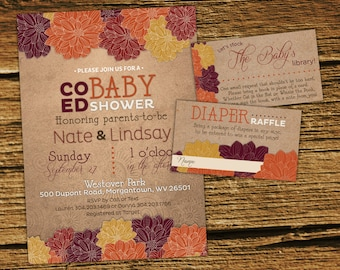 Fall baby shower Invitation Kit, Co-ed, Couples Shower, Gender Neutral, Baby Boy, Baby Girl, Rustic, Floral, Harvest, Autumn, Gold, Plum