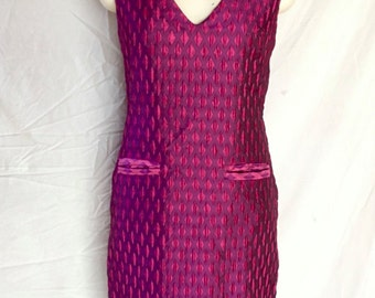 Belinda, Pink Peplim Dress ( shift dress with pockets )