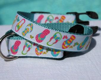 Flip Flops and Butterflies Dog Collar