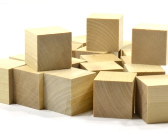 """26 Piece Set 1-1/2"""" UNFINISHED WOOD BLOCKS-High Quality Natural Wood-Ready for Paint or Stain-1.5"""" Wooden Blocks"""