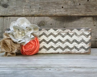 Hand Painted and Distressed Chevron Wooden Box Centerpiece, Rustic Planter Box, Rustic Home Decor, Shabby Chic Planter Box