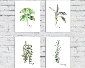 Herb Print Set of 4 - 8x10 Watercolor Prints, Herb Watercolors, Kitchen Decor, Botanical Print, Print Set, Herb Prints, Herb Painting, Herbs