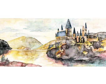 """Hogwarts Painting - Print made from Original Watercolor Painting, """"I Open at the Close"""", Harry Potter, Hogwarts Castle, JK Rowling"""