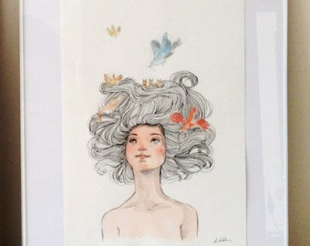 Original Watercolor Artwork - hair with birds