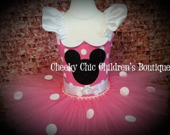 CLEARANCE - Minnie Mouse Inspired Tutu Dress - Size 12/18 months