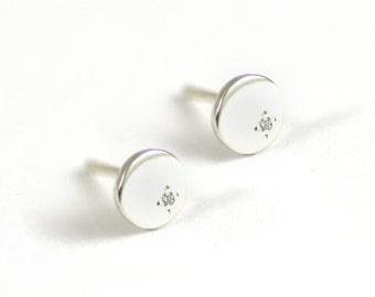 Ostara Sterling Silver Circle Diamond Studs