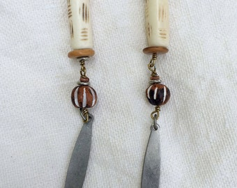 Tribal bone earrings