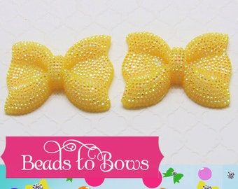 QTY 1 Large Yellow Rhinestone Bow bead, Rhinestone Bow, Chunky Bow, Bubblegum rhinestone bead, Chunky Necklace Bow,  Bead Bow
