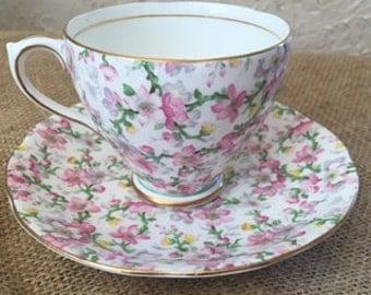 Royal Standard, Vintage, English Chintz, May Medley Tea Cup & Saucer