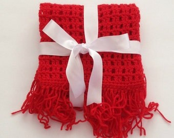 Crochet scarf, girls crochet scarf, girls scarf, crochet neck warmer, crochet winter scarf, winter scarf, ladies scarf, red scarf, girl gift