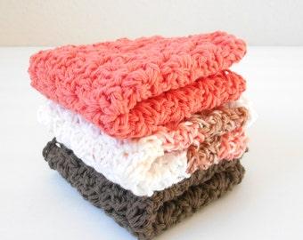 Crochet Cotton Dishcloth - Crochet Cotton Washcloth - Three Pack Cotton Dishcloth - Handmade Dishcloth