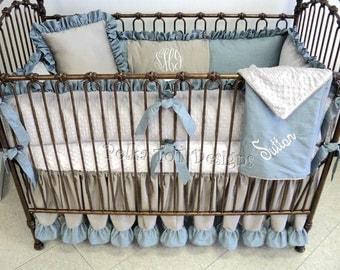 Blue & Gray Baby Bedding: Sutton