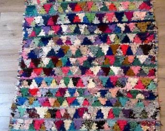 Big size moroccan rug boucherouite (boucharouette) ref 074  215 x 158 cm (7,05 x 5,18') berber tribal art