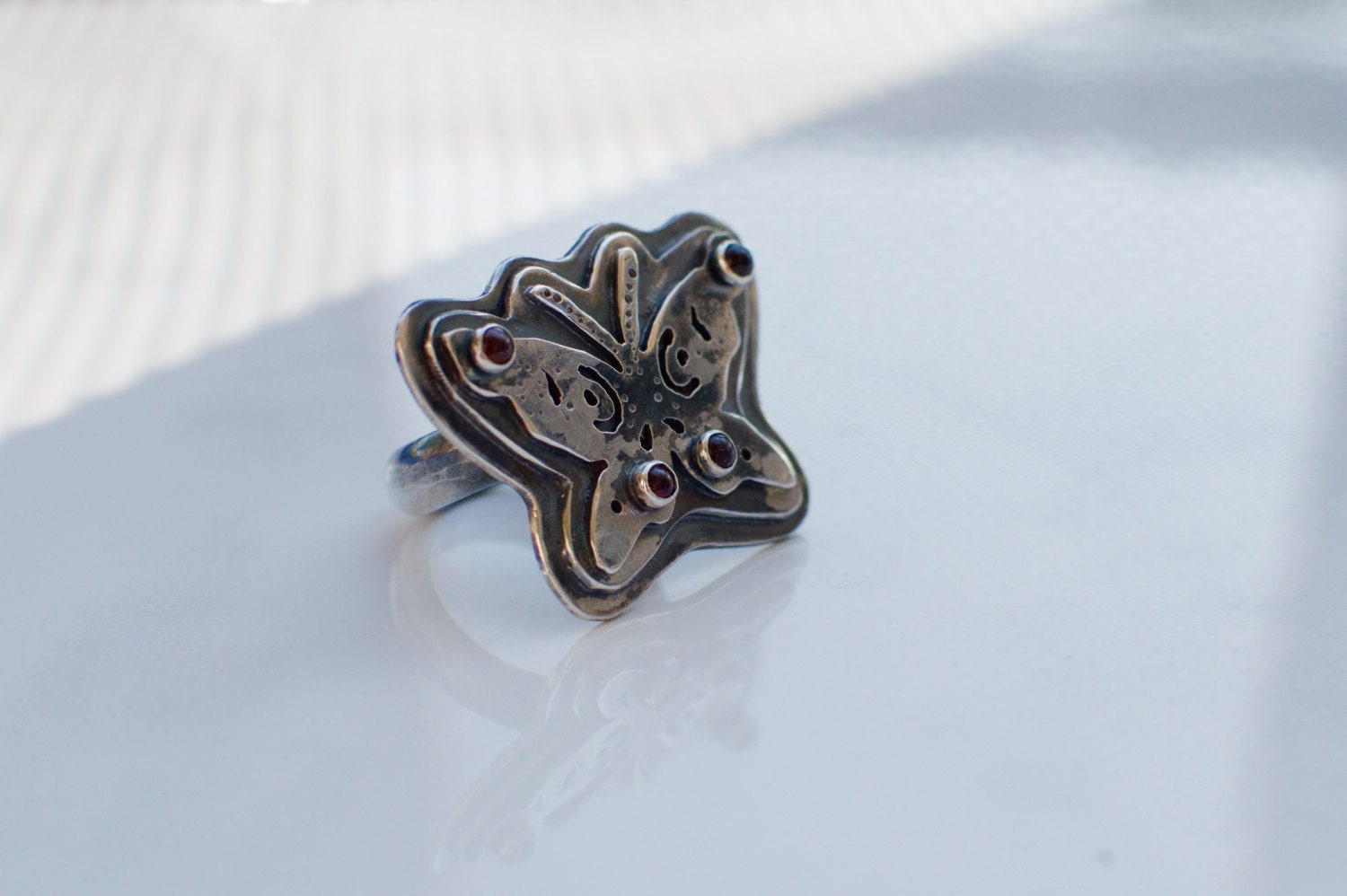 butterfly ring silver butterfly ring by thenightowlsstudio