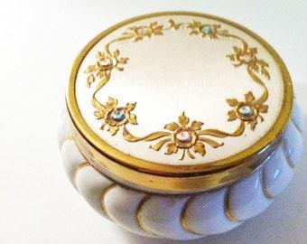 Vintage Vanity Powder Jar White and Gold Matson Hand Painted Porcelain Jar Cottage Chic