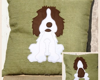 Spaniel - green soft  reversible Cushion with a tail