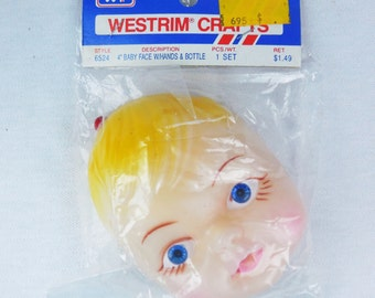 4 Inch Baby Face With Hands and Bottle Westrim Crafts Vintage Plastic Vinyl Molded Blond Hair Doll Free Shipping