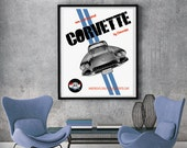 "Chevrolet Corvette Art, Instant Download, Corvette C1, Corvette Garage Art, Automotive Decor, Corvette Poster, 8x10"", 11x14"", 18x24"""