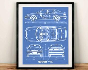 """Saab 9-5 Blueprint, Saab Decor, Blue print Art, Instant Download, Saab Art, Blueprint art, Saab Decor, Saab 9-5, 5x7, 8x10, 11x14"""""""