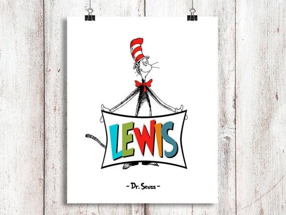 Custom Dr Seuss Name Dr Seuss Wall Art Dr By Simplydigitalart