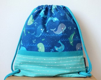 Whales fabric backpack for kids, dolphins fabric bag, summer boys bag, marine animals, blue bag