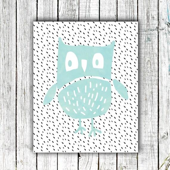 Nursery Printable, Owl, Woodland, Watercolor, Modern, Digital Download Size 8x10 #550
