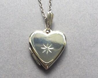 Sterling Silver Vintage Love Heart Picture Locket