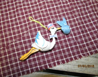 Vintage Wood Wooden Stork with Baby Ornament Baby Announcement