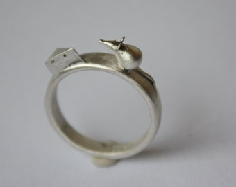 Mouse And Cheese Solid Sterling Silver Sculptural Ring