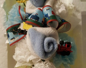 Little boy's toys baby sock corsage