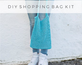 DIY shopping bag kit coral red, make it yourself, crochet shopping bag