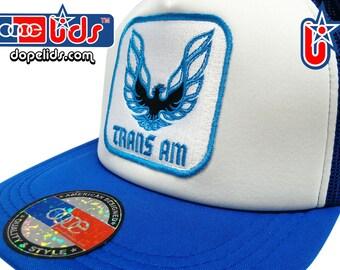 Vintage Patch Blue Trans Am Mesh Trucker Cap Hat Bandit 70's 80's TV Firebird