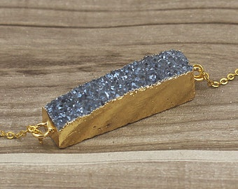 SALE Blue Druzy Rectangle Bar Titanium Agate Druzy Double Bail Connector Pendant with Gold Electroplated Edges (S5W2-13)