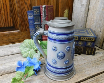 Vintage German Salt Glaze Earthenware Pottery and Pewter Stein - Monk Lever - Coat of Arms