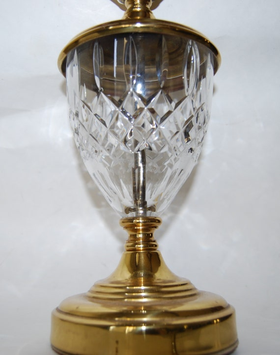 Vintage Waterford Crystal Glass Lamp Signed Brass