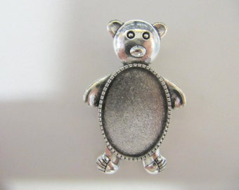 Cabochon Bezel Teddy Bear, 25x18mm, Glue In, Alloy Silver, Lapidary Supply, Cabochon Setting, Rock Hounds, Rock Clubs