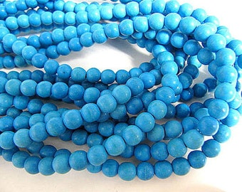 Turquoise Bead Strand, Synthetic, Deep Sky Blue, Dyed, Round, 4mm, 100 Piece Strand, Sale, Jewelry Supply
