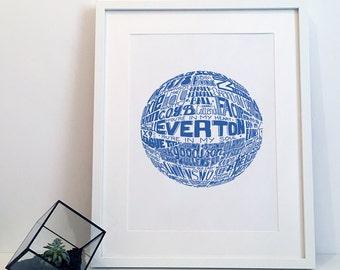 Everton FC Typography Print Poster