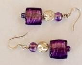 Dangle Earrings, Purple Drop Earrings, Purple Foil-lined Earrings, Purple Glass Earrings, Silver Stardust Beaded Earrings