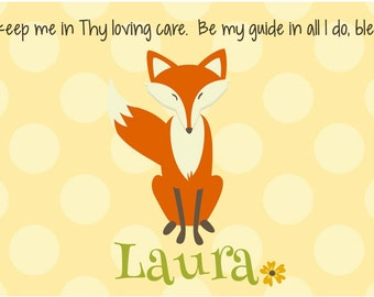 Personalized Placemat - Kids Placemat - Childrens Placemat - Childs Placemat - Laminated Placemat - Baptism Gift - Woodland Fox Girl