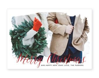 Custom Photo Holiday Card | DIY Printable or Printed | Merry Christmas Card Watercolor | 5x7 | #600